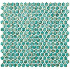 Мозаика 30*28,5 Dwell Turquoise Hexagon Gold